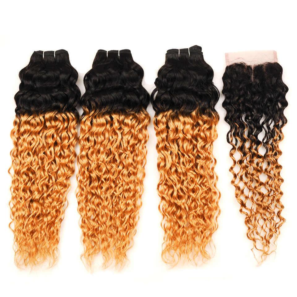 Pinshair Ombre волна воды индийские человеческие волосы переплетения для наращивания с закрытием NonRemy медовый блонд 1B 27 3 пучка с закрытием шнурка