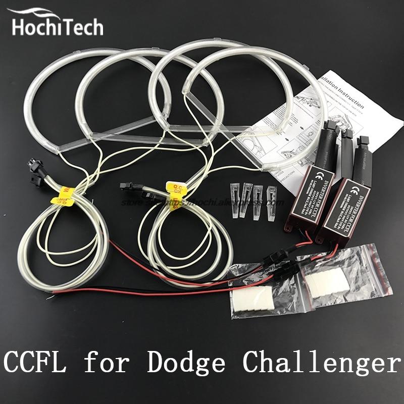 ФОТО HochiTech WHITE 6000K CCFL Headlight Halo Angel Demon Eyes Kit angel eyes light  for Dodge challenger 2008 2009 2010 2011 - 2014