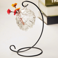2014 Creative Grapes Hanging Wrought Iron Hooks Transparent Glass Vase Home Fashion Jewelry Crafts