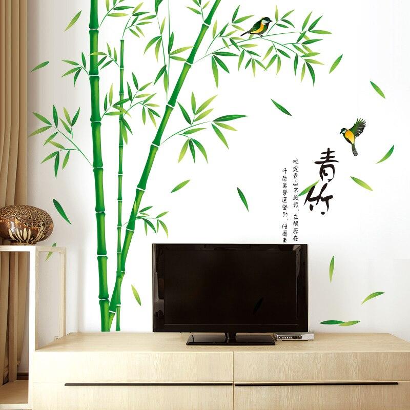 [SHIJUEHEZI] Bambus Vögel Wandaufkleber Selbstklebende Wand Kunst  Chinesische Stil Wohnkultur Für Wohnzimmer Schlafzimmer Dekoration