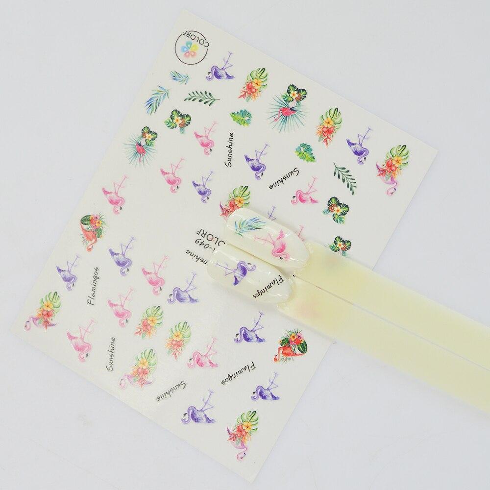 1 Blatt 3D Nail Sticker Flamingo Emoji Cartoon Tropischen Pflanzen ...