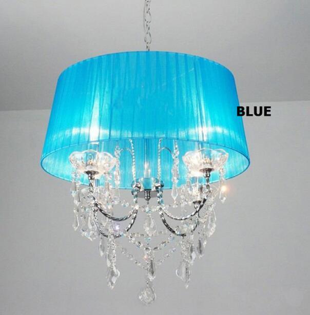 Осветительная лампа, подвесные светильники, светодиодная Хрустальная спальня, благородная Роскошная лампа, дымоход e14, лампа, стеклянная основа, светодиодная лампа, модный абажур XU - Цвет корпуса: blue
