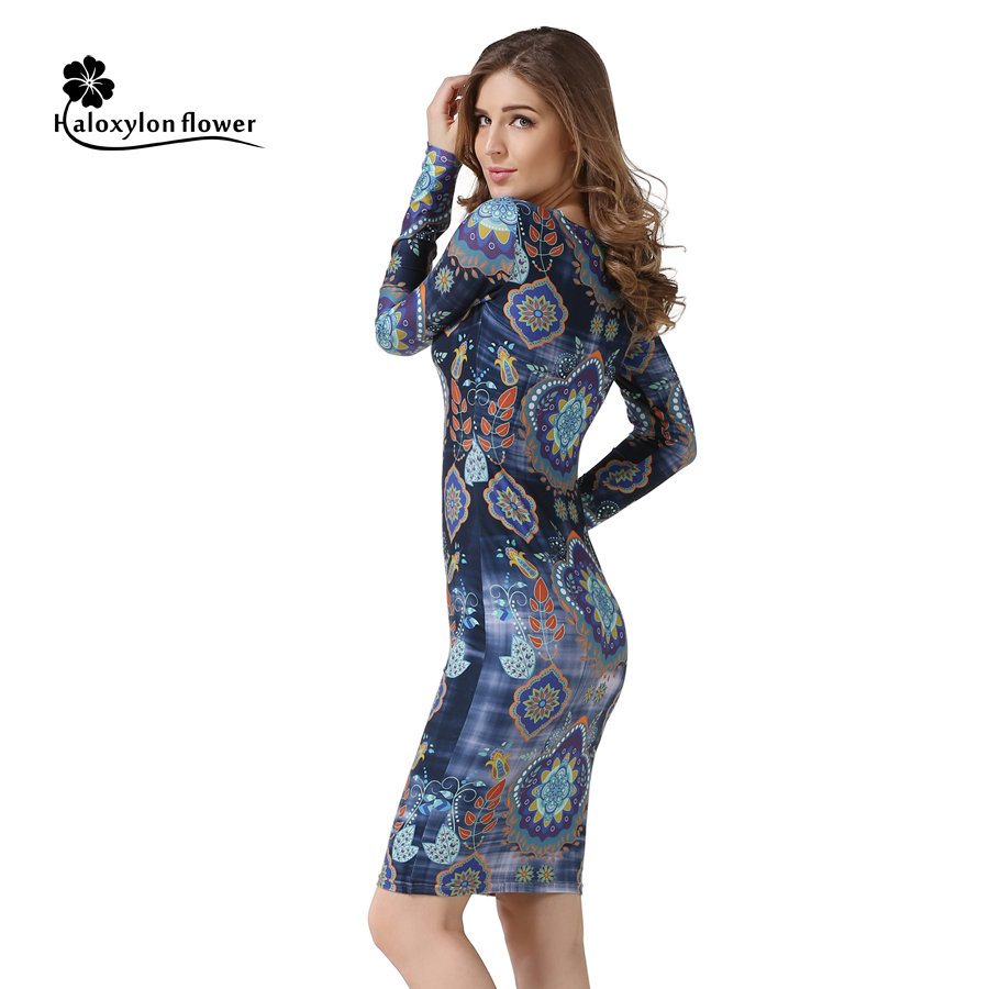 Autumn font b Dress b font Fashion Round Neck sheath pencil Long sleeves font b Dresses