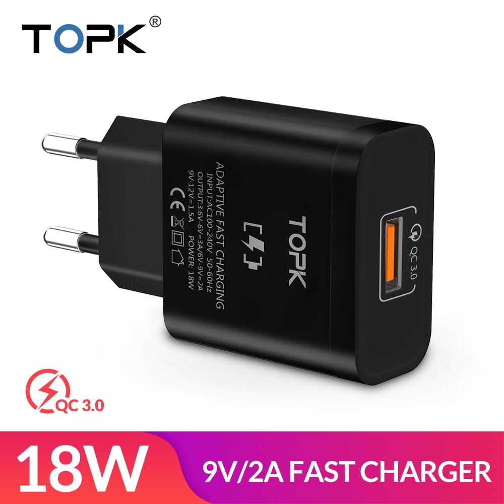 TOPK 18 watt Quick Charge 3,0 Schnelle USB Ladegerät Für iPhone Samsung Xiaomi huawei Reise Wand EU Stecker Handy ladegerät adapter