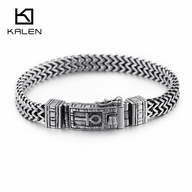 KALEN Neue Ägyptischen Ankh Symbol des Lebens Charme Armbänder Für Männer 22 cm Edelstahl Silber Mesh Verknüpfung Kette Armband schmuck