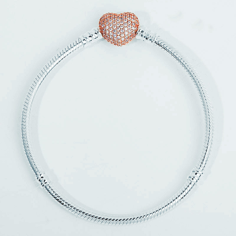 925 Sterling Silver Rose Gold Heart Chain Charm Beads Fit Pan Bracelet Charm For Women Authentic Original Fine Jewelry gold plated rhinestone heart circle charm bracelet