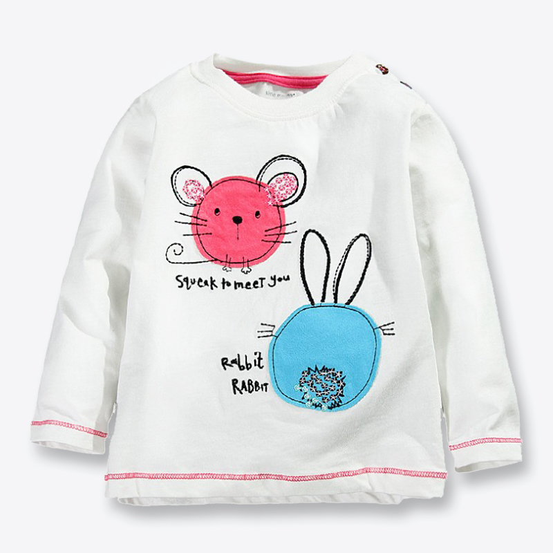 New Fall Children's T-shirts White Cartoon Printed T-shirt For Girls Casual Cotton Long Sleeve Tops For Girls Kids Tees 1-6 Yrs