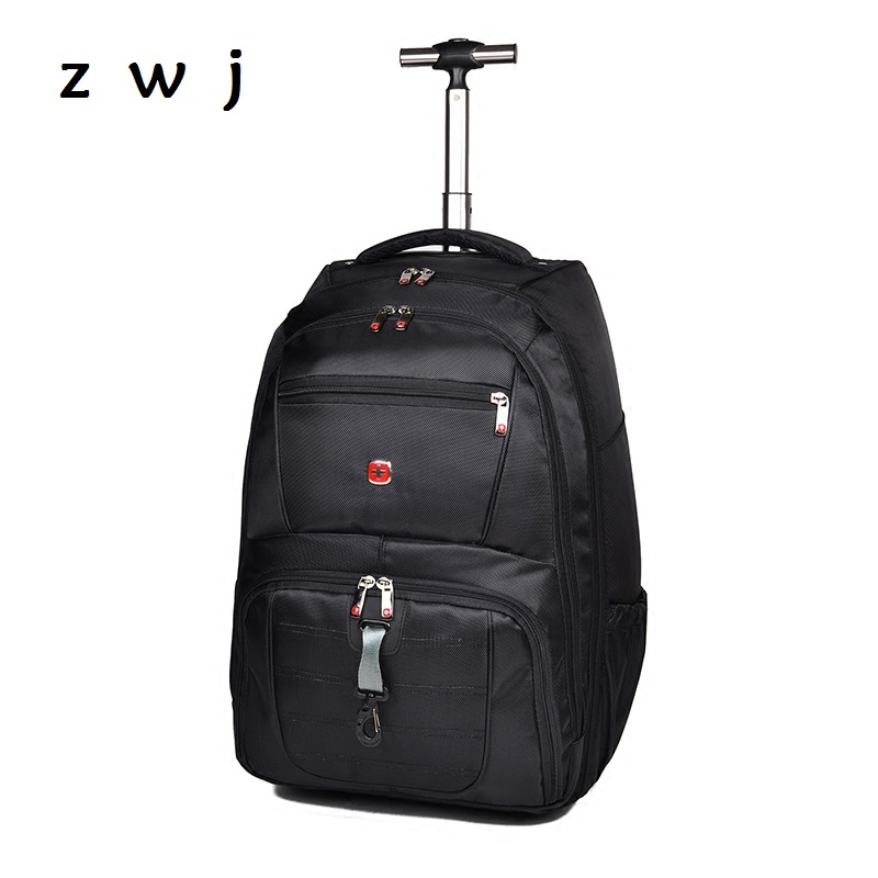 19 inch men carry on hand backpack rolling luggage trolley travel bag19 inch men carry on hand backpack rolling luggage trolley travel bag