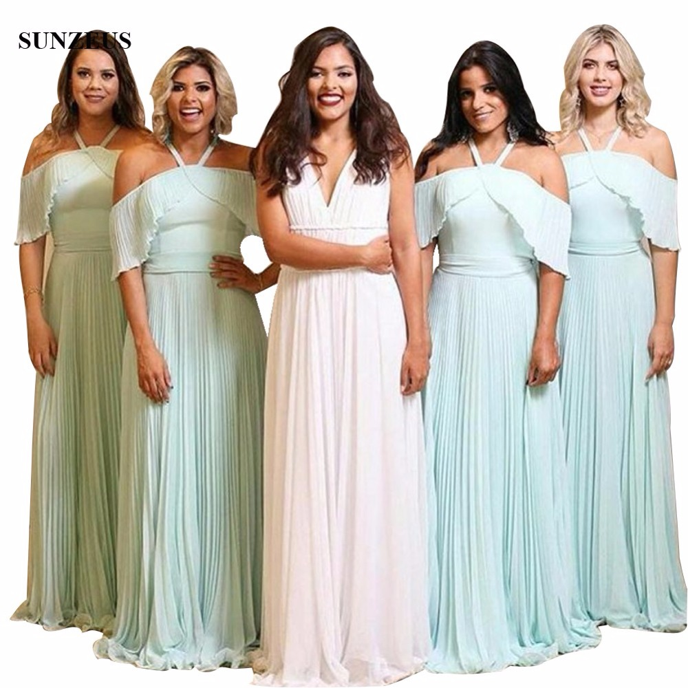 Abiti Da Damigella 2018 Long   Bridesmaids     Dresses   Pleated Chiffon Draped Women Party   Dresses   For Wedding Off Shoulder BDS053