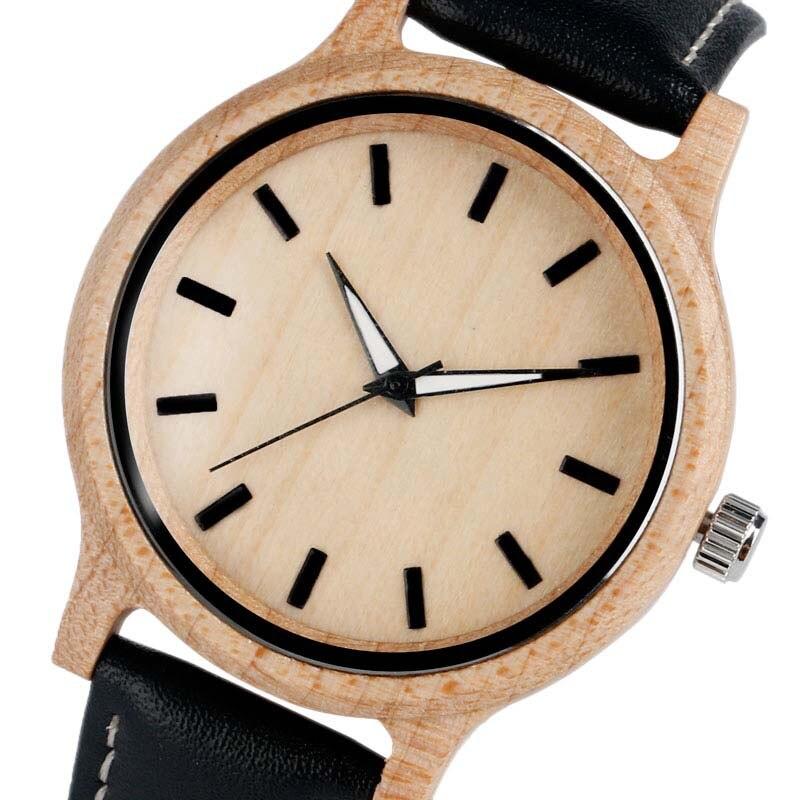 Casual Wooden Watch Female Novel Bamboo Fashion Quartz Wristwatches Simple Modern Creative Women Nature Wood Clock
