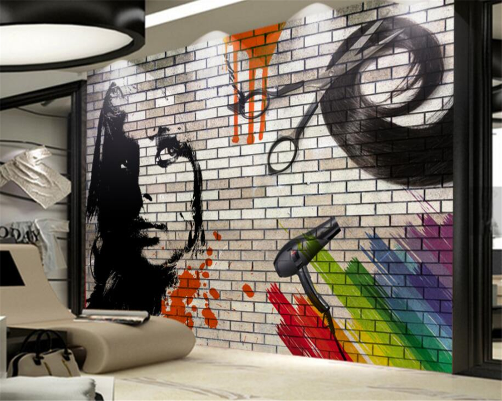 Beibehang Custom Wallpaper Brick Wall Hair Salon Modern Abstract Art Wall Paintings Living Room Bedroom 3d Wallpaper For Walls