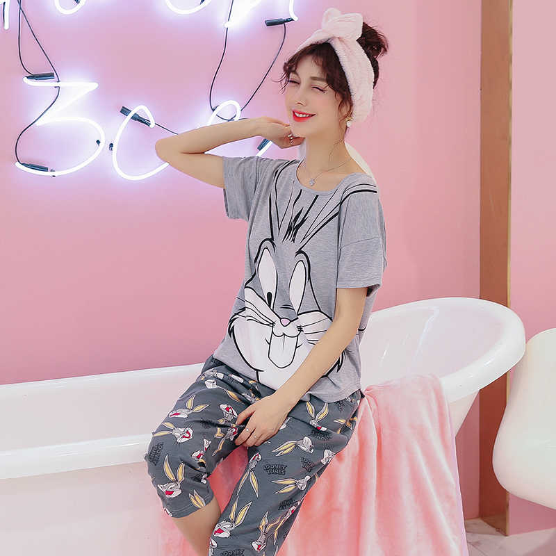 97ef3ba840b38 ... Women Clothes for Summer Pajamas Sets O-Neck Sleepwear Lovely Rabbit Pijamas  Mujer Short Sleeve ...