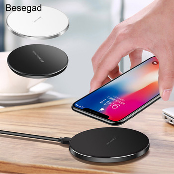 Besegad Phone Charger QI Fast Wireless Charging Stand Pad for Apple iPhone 10 X 8 Plus Samsung Galaxy S9 S8 S7 S6 Note5