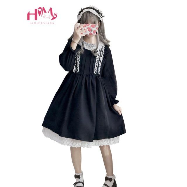 02516d32d0 Japanese Harajuku Anime Cosplay Clothes Women s Gothic Lolita Kawaii Black  Lace Dress Girls Ruffle Halloween Party