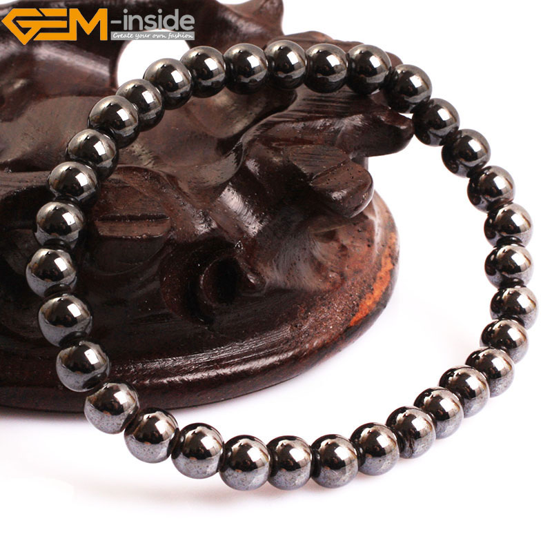 Gem-inside Natural Hematite Magnetic Therapy Healing Stone Bracelet Jewelry For Women Men Selectable Style Trinket Jewelery
