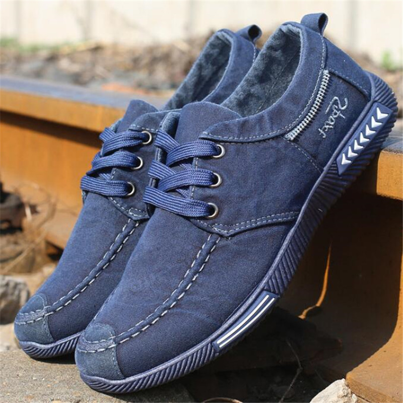 NEW Canvas Men Shoes Denim Lace-Up Men Casual Shoes Plimsolls Breathable Male Footwear Spring Autumn Sneakers Size 39--46