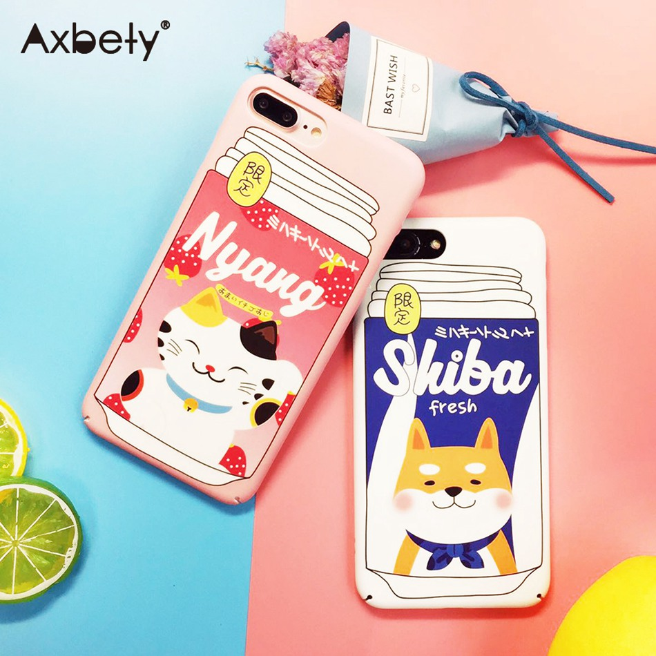 Axbety Cute Fruit Cat Dog Phone Case For iPhone 7 Case For iPhone 6S x 7 8 Plus Kawaii Cartoon Akita Hard Plastic PC Back Cover