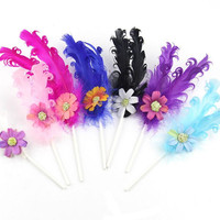 2018 New Colorful Flower Curly Feather Cake Toppers Cake Flag Baking Decor Accessories Birthday Party Decoration