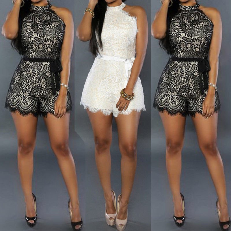 Women Ladies Clubwear V Neck Playsuit Bodycon Party   Jumpsuit   & Romper Trousers Sleeveless Playsuits