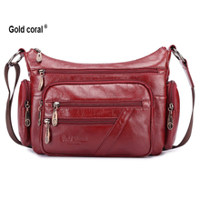 Gold coral cowhide female bags  fashion bag trend women's bags one shoulder cross-body women's handbag shopping messenger bag