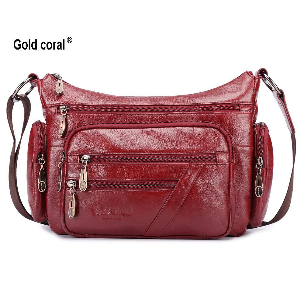 Gold coral genuine leather messenger bags for women fashion shoulder crossbody bags female mother shopping handbags large 2018