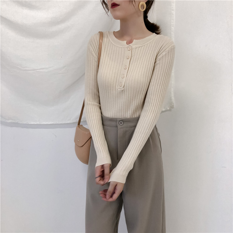 Colorfaith Women Pullovers Sweater New 19 Knitted Autumn Winter Spring Fashion Sexy Elegant Buttons Casual Ladies Tops SW9065 17
