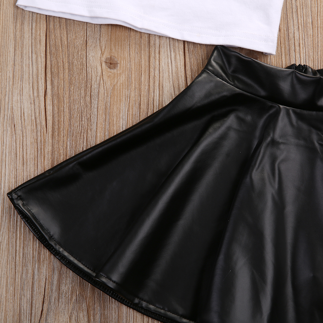 17 New Fashion Toddler Kids Girl Clothes Set Summer Short Sleeve Mini Boss T-shirt Tops + Leather Skirt 2PCS Outfit Child Suit 5