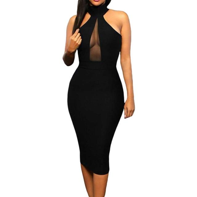 Summer Dress Sexy Women' Bodycon Off Shoulder Crew Neck Party Evening Black Knee-Length Dress New Elegant Vestido 2