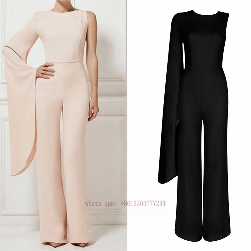 2017 elegant one shoulder flare sleeve women jumpsuit black pink loose jumpsuits romper full length brief summer beach wear