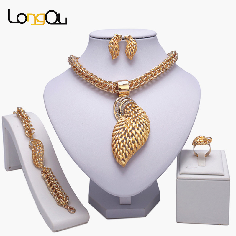 Bridal Beads Jewelry Set Animal tail shape Indian Wedding Gold Necklace Earrings Set Gold Jewelry Set for African Wedding