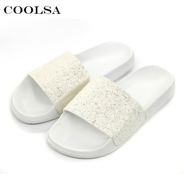 d61cbb71d23b8 COOLSA New Summer Women s Slippers PU Bling Bling Slides Flat Soft Bottom  Sandals Home Flip Flops