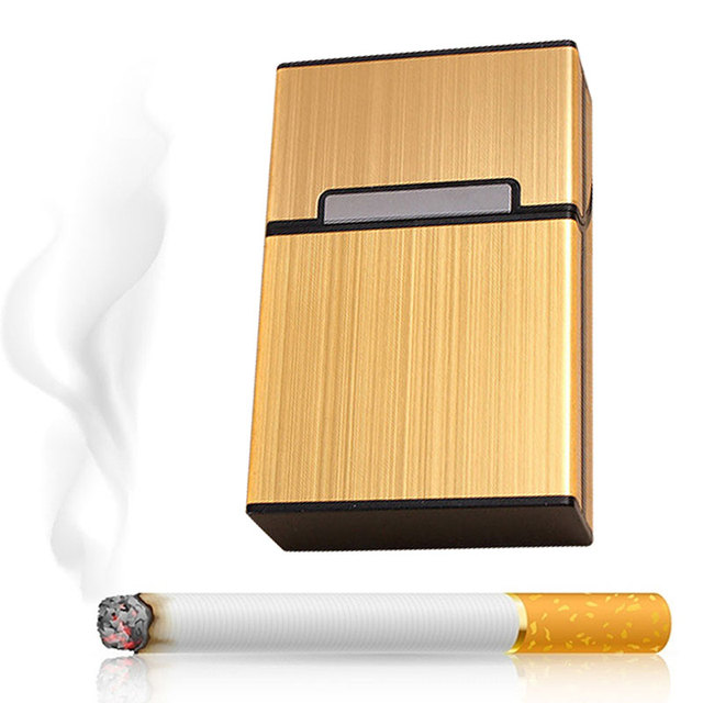 Cigar Cigarette Case Light Aluminum Cigars Tobacco Holder Pocket Box Storage Container LBShipping