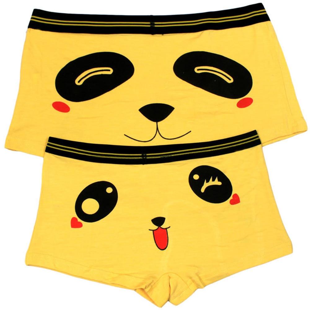 2pcs Lovers Couples Panties Cute Cartoon Panda Printed Low Waist Boxer Underpants Women Men Funny Modal Underpant Shorts 6 Color