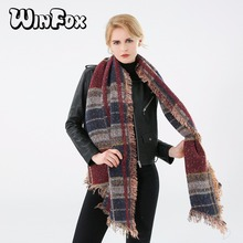 Winfox 2018 New Brand  Winter Navy Burgundy Rainbow Color Tarban Plaid Blanket Scarf Shawl Wrap Pashmina Scarves For Womens