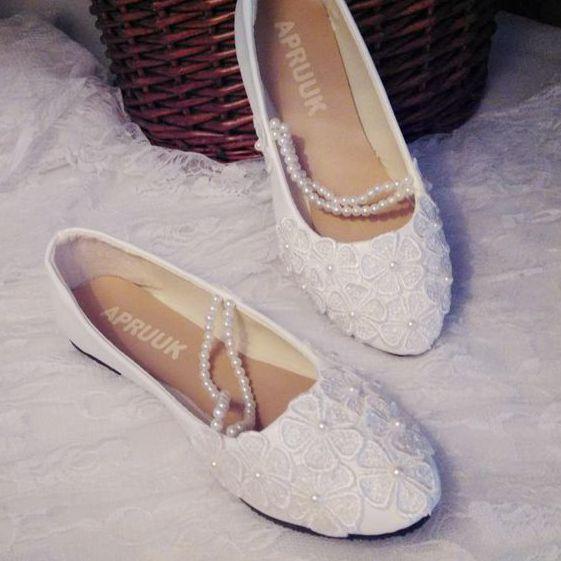 Wedding shoes women flat heel plus sizes 41 42 43 handmade romantic ladies female wedding flats shoes lace pearls brides shoe