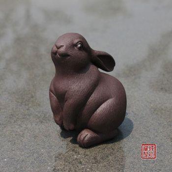 China collection yixing red stoneware Tea pet Zodiac rabbit Ornament