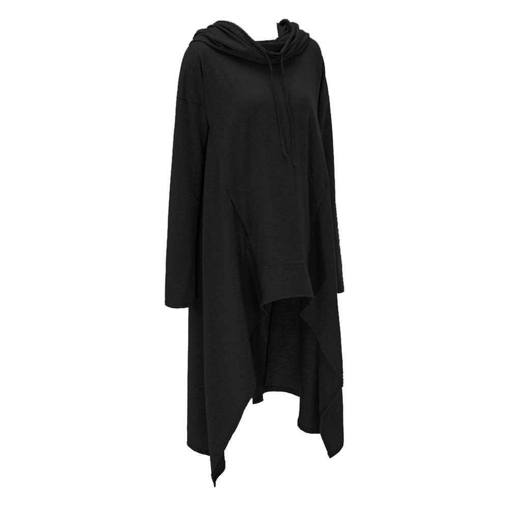 2019 ฤดูใบไม้ร่วง Casual Gothic Black PLUS ขนาดผู้หญิง Hoodies หลวมบาง Hooded PLAIN ไม่สมมาตรฤดูใบไม้ร่วงหญิง Streetwear