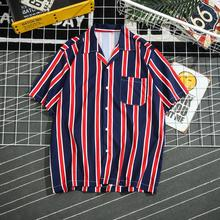 Men 2019 Summer Fashion Brand Korea Style Striped Short Sleeve Yellow Shirt Male Casual Loose Hawaiian Beach Thin Shirts