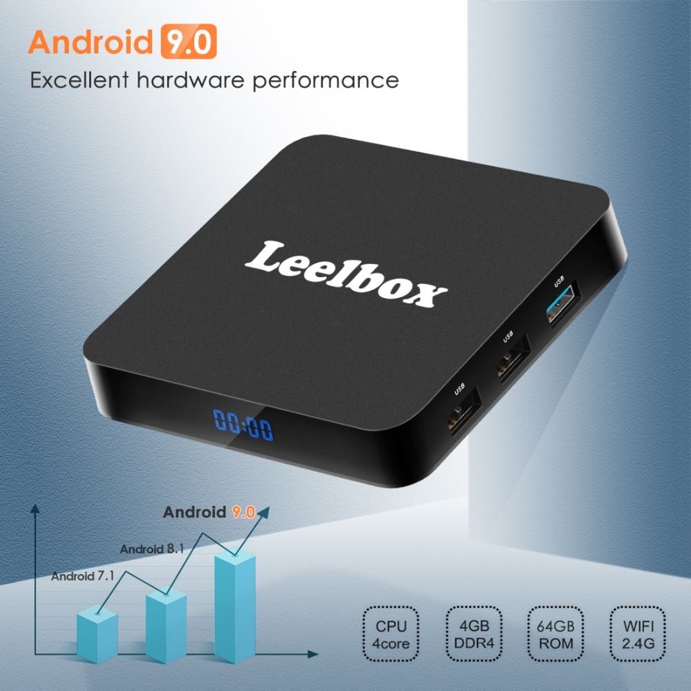 Leelbox Google TV Box Q4 Plus 4G 64G Smart Android 9.0 TV Box HDMI2.0 2.4G/5G WiFi LAN BT4.0 4 K H.265 lecteur multimédia