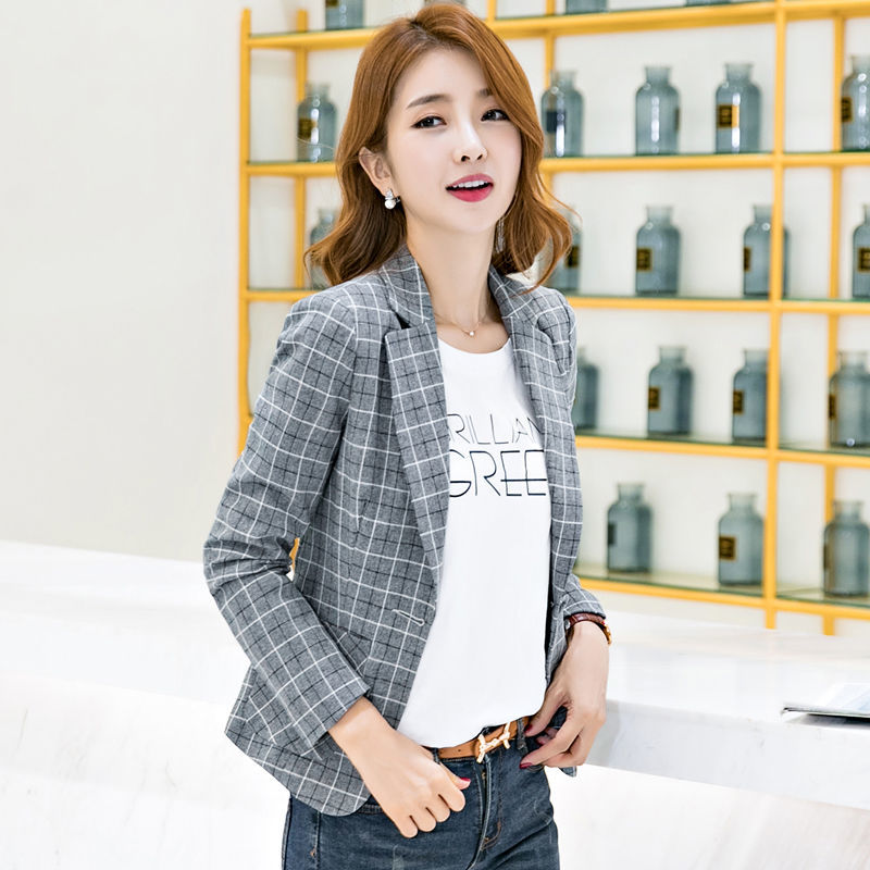 PEONFLY Casual Plaid Women Blazer Jacket Notched Collar Single Button Female Suit Coat Fashion Outerwear Blazer Femme Jacket