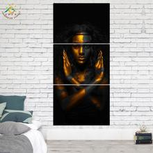Wall Art Prints Canvas Painting Posters and Picture Black Gold Decoration Home 3 PIECES