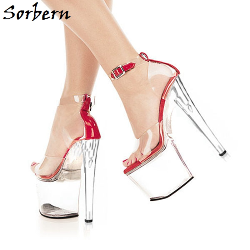 Sorbern Perspex Heels Sandals Platform Summer Shoes For Women Ankle Strap Designer Custom Color Open Toe Fashion Size 10 Sandals