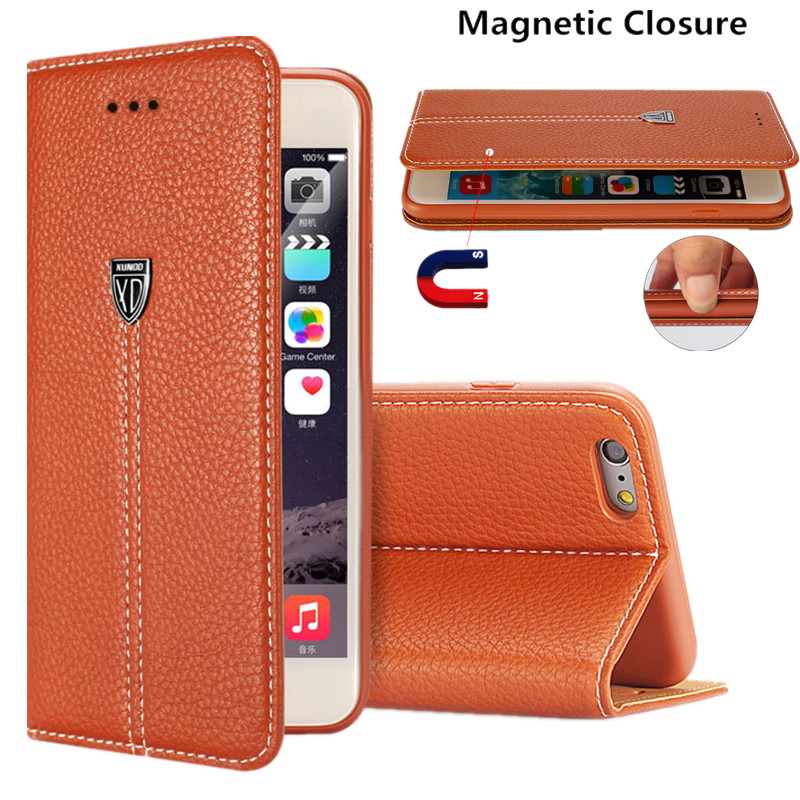 XUNDD Genuine Leather Wallet Cover Flip Case For iPhone 7 Plus 6 6S Plus 5 5S