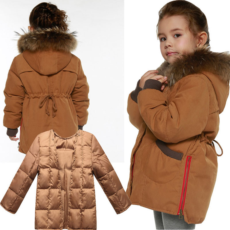 2016 new  children down jacket girls Double layer clothes big raccoon fur hooded collar jacket thickening winter outerwear coats