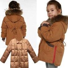 2016 новых детей пуховик девушки двухслойные одежда большой мех енота с капюшоном воротник куртки утолщение одежда зимняя верхняя одежда пальто