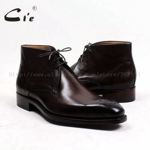 Image 5 - cie square toe medallion 100%genuine calf leather boot patina deep brown handmade bespoke leather lacing mens ankle boot  A99
