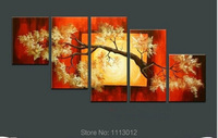 Hot Sale Red Yellow Tree Oil Painting On Canvas 5 pcs Set Home Abstract Wall Art Decoration Paint Modern Picture For Living Room