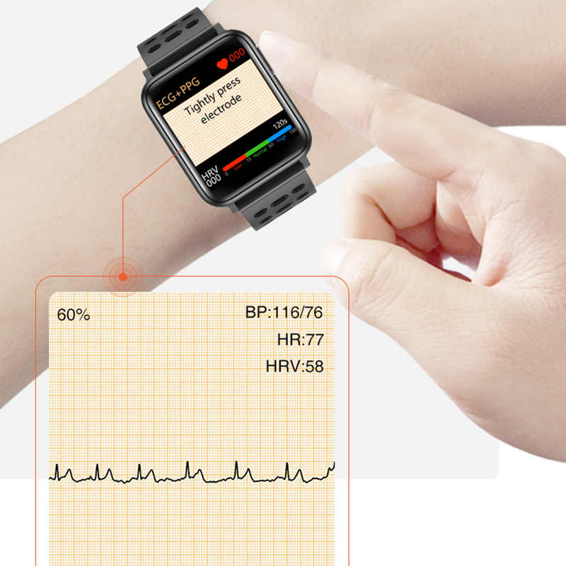 "KAIHAI H69 אק""ג PPG SpO2 HRV כושר בריאות smart watch גברים אלקטרוני לחץ דם מדידת קצב לב צג smartwatch"