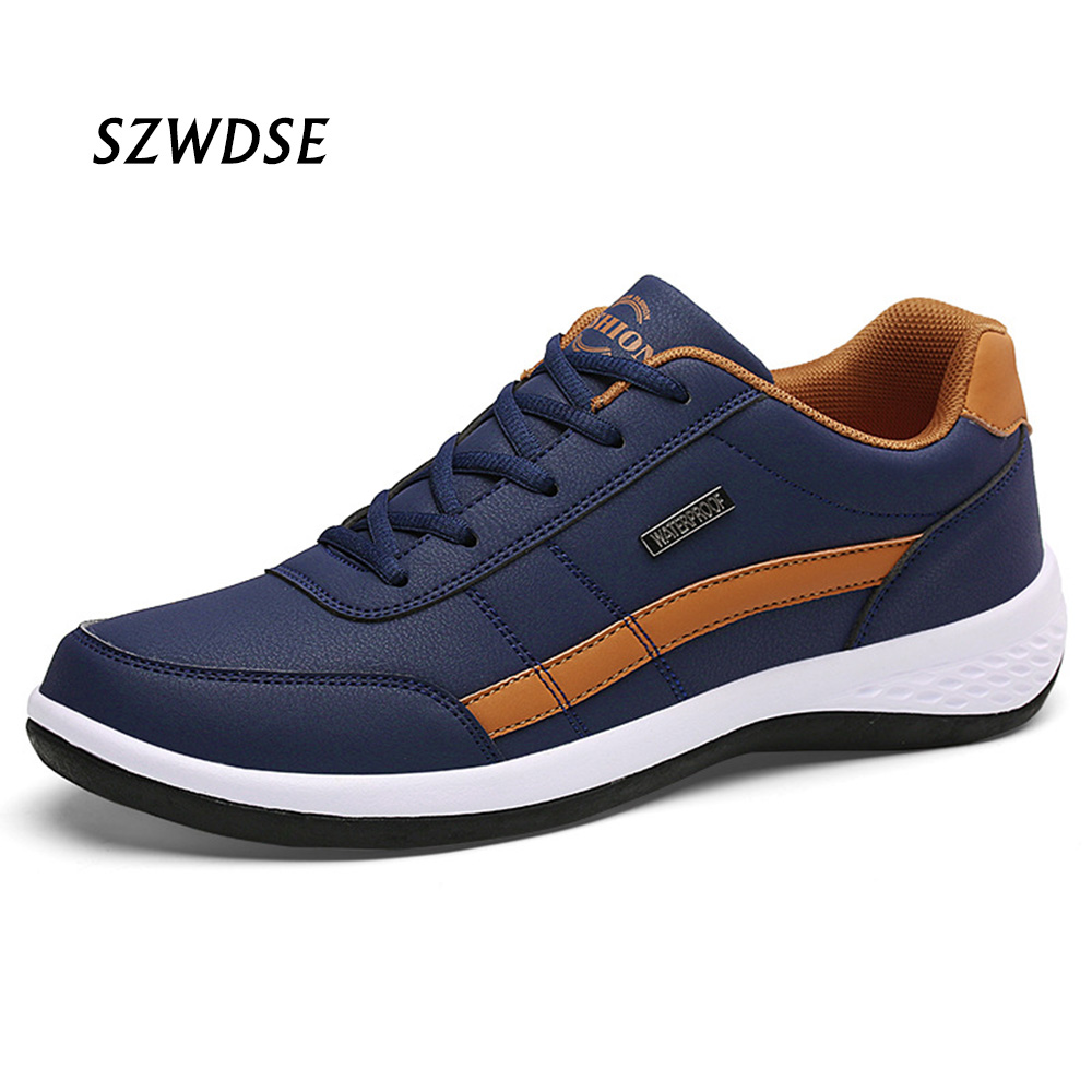 Fall Sports Men Running Shoes High End Gym Leather Non-slip Soft Athletics Sneakers Students Lace-up Low Sneakers White Black