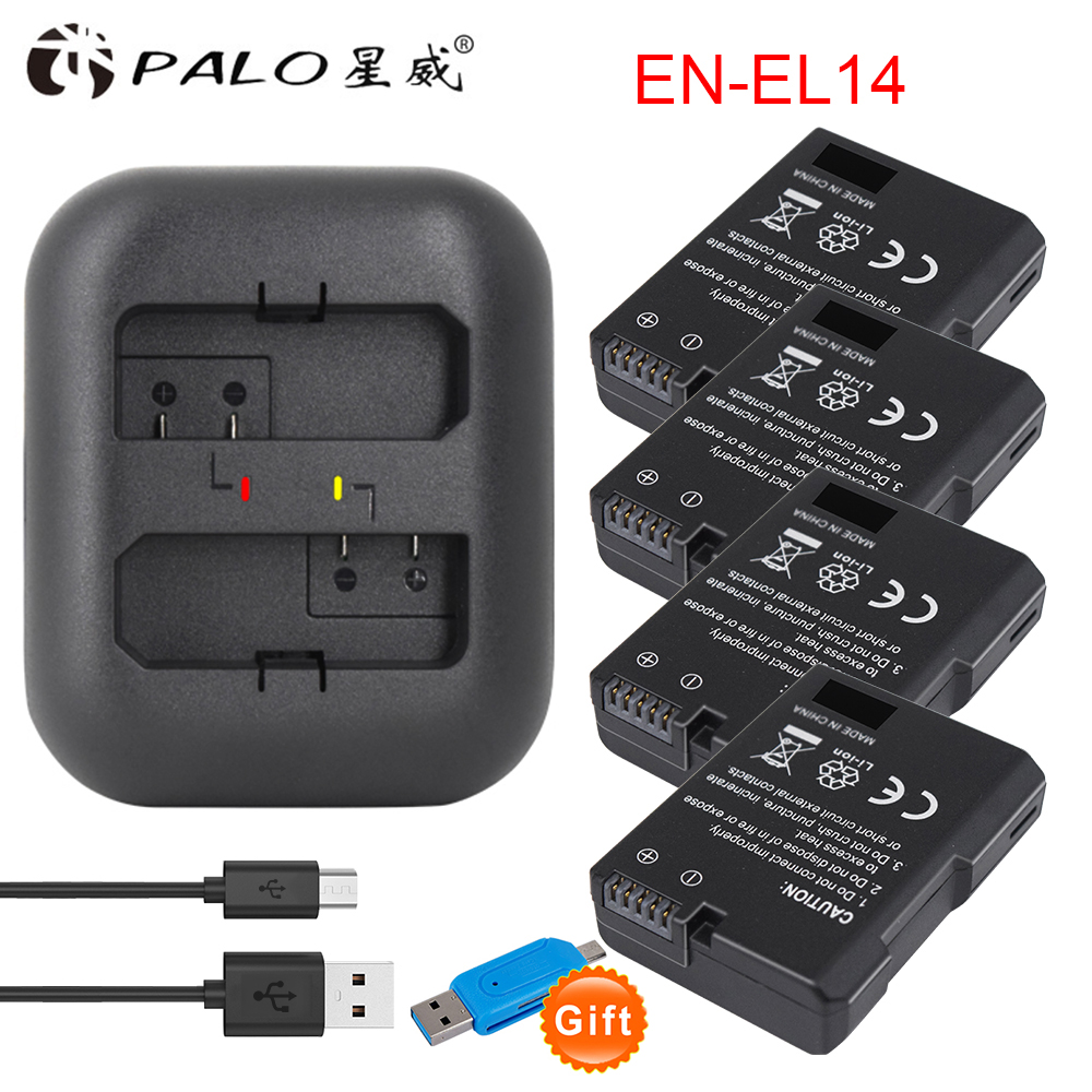 4 pièces EN-EL14 EN EL14 ENEL14 batteries + Chargeur Pour Appareil Photo Nikon Batterie D5300 D5200 D5100 D3100 D3200 D3300 P7100 P7800